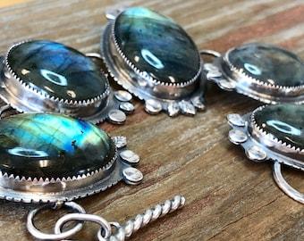Labradorite Boho Bracelet, Sterling Silver, Handmade, Artisan Silversmith, Argentium, Jewelry