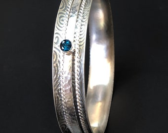Blue Topaz Sterling Silver Spiral Spinner Stacker Hammered  Meditation Boho London Blue Topaz Argentium Textured Gemstone Bangle Bracelet