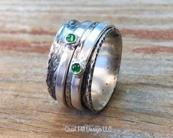 Tsavorite Garnet Gemstone Spinner Ring Hammer Texture Patina Ring Argentium Sterling Silver Band