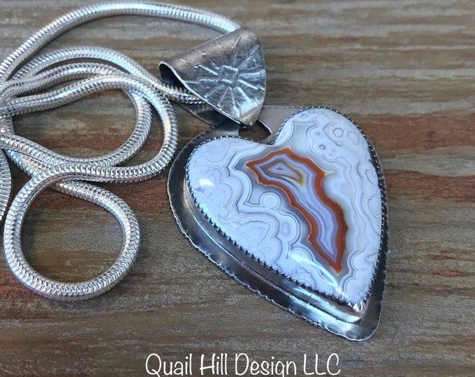 Featured listing image: Argentium Sterling Silver and Rosetta Lace Agate Heart Cabochon Pendant