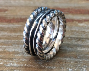 Rustic Folded Argentium Sterling Silver Ring