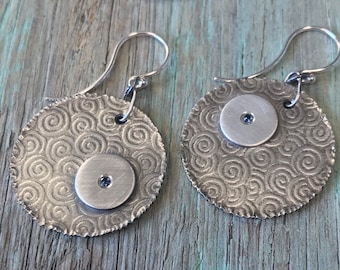 Sapphire Argentium Sterling Silver Embossed Spiral Textured Earrings