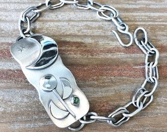 Silver Moon Tsavorite Garnet Argentium Sterling Silver Bracelet Jewelry