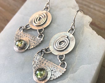 Boho Peridot Spiral Half Moon Round Textured Argentium Sterling Silver Earrings