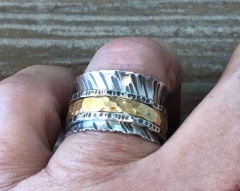 Spinner Ring, Textured Argentium Sterling Silver Ring, Mixed Metal