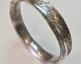 Sterling Silver Spinner Stacker Hammered  Meditation Argentium Textured Bangle Bracelet