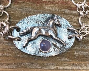 Horse Sterling Silver Bracelet, Holley Blue, Lavender Chalcedony, Handmade, Artisan Silversmith, Argentium, Jewelry