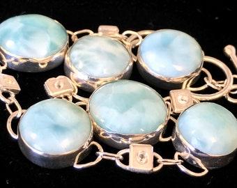 Larimar and White Topaz Argentium Sterling Silver Bracelet