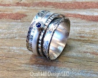 Sapphire Gemstone Spinner Ring Hammer Texture Patina Ring Argentium Sterling Silver Band