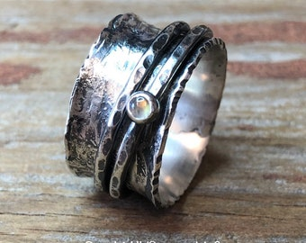 Moonstone Gemstone Spinner Ring Hammer Texture Patina Ring Argentium Sterling Silver Band