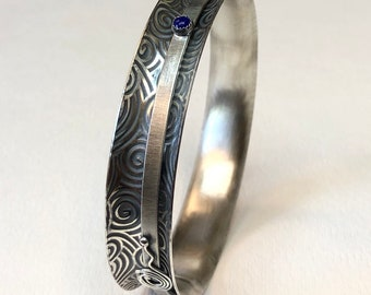 Sterling Silver Spiral Lapis Spinner Stacker Hammered  Meditation Argentium Textured Bangle Bracelet