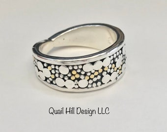 Argentium Sterling Silver and 22 karat Gold Ring Band