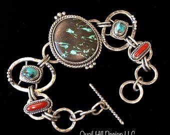 Turquoise Coral Argentium Sterling Silver Bracelet Austin Blue Carico Lake Old Stock Mediterranean Nevada