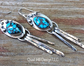 Moon River Turquoise Earrings Argentium Sterling Silver