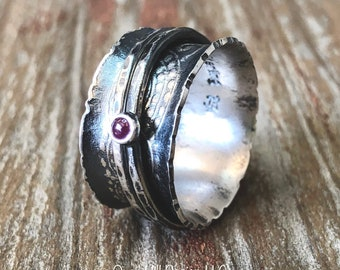 Ruby Gemstone Spinner Ring Embossed Texture Patina Ring Argentium Sterling Silver Band