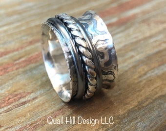 Spinner Ring, Textured Argentium Sterling Silver Ring