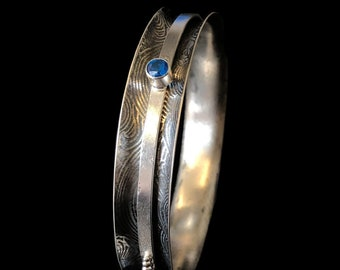 Blue Topaz Sterling Silver Spinner Stacker Hammered  Meditation Boho Kashmir Blue Topaz Argentium Textured Gemstone Bangle Bracelet