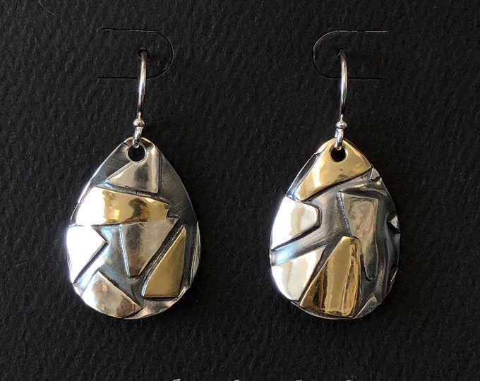Featured listing image: Mixed Metal Abstract Geometric Argentium Sterling Silver and Brass Earrings