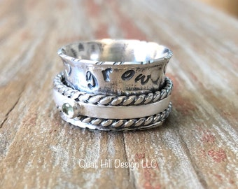 Apatite Gemstone Spinner Ring Hammer Texture Patina Ring Argentium Sterling Silver Band HELP THEM GROW stamped