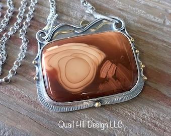 Bruneau Jasper Pendant Argentium Sterling Silver 18 Karat Gold 22 Karat Gold Necklace