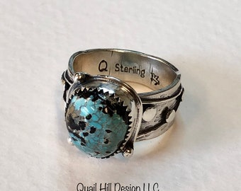 Lucky Lynn Mine Natural Turquoise Love Knot Ring Argentium Sterling Silver