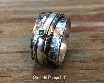 Emerald Gemstone Spinner Ring Texture Patina Ring Argentium Sterling Silver Band