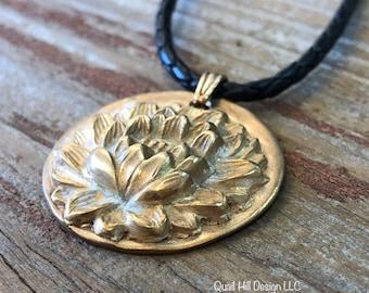 Bronze Lotus Blossom Pendant Necklace Stocking Stuffer
