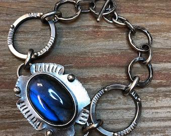 Boho Bracelet, Labradorite, Sterling Silver, Blue, Handmade, Artisan Silversmith, Argentium, Jewelry