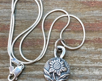 Flower Pendant, Fine Silver Pendant, Round Silver Medallion, Sterling Silver Necklace Chain Jewelry