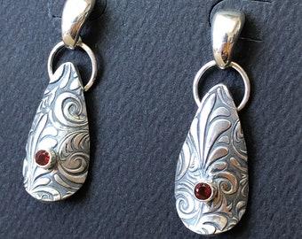 Fire Opal Earrings, Fine Silver Argentium Sterling Silver