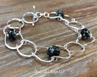 Lucky Horseshoe Chain Czech Glass Bead Argentium Sterling Silver Bracelet