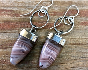 Agua Nueva Agate Bullet Drop Argentium Sterling Silver Earrings