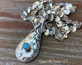 Abstract Natural Opal Pendant, Fine Silver Precious Opal Gemstone Pendant, Welo Opal, Teardrop Sterling Silver Necklace Chain Jewelry