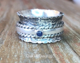 Sapphire Gemstone Spinner Ring Embossed Confucius Philosopher Texture Patina Ring Argentium Sterling Silver Band