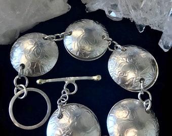 Rose Embossed Textured Link Bracelet Argentium Sterling Silver Jewelry