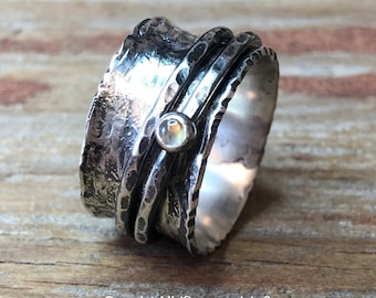 Moonstone Gemstone Spinner Ring Hammer Texture Patina Ring Argentium Sterling Silver Band