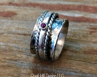Ruby Gemstone Spinner Ring Texture Patina Ring Argentium Sterling Silver Band