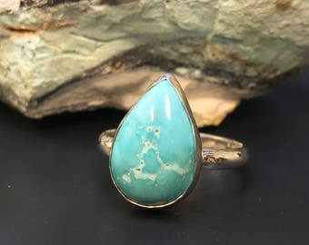 Carico Lake Mine Natural Turquoise Ring Argentium Sterling Silver
