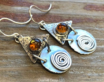 Boho Amber Spiral Triangle Round Textured Argentium Sterling Silver Earrings