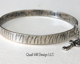 Key Charm Argentium Sterling Silver Textured Bangle