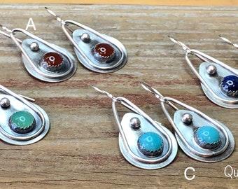 Gemstone Argentium Sterling Silver Earrings