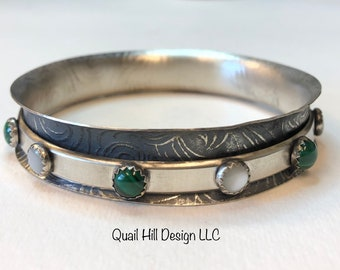 Sterling Silver Spinner Bangle Malachite Mother of Pearl Stacker Hammered  Meditation Argentium Textured Bracelet