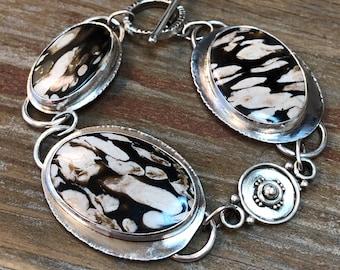 Boho Bracelet, Peanut Wood, Sterling Silver, Petrified Driftwood, Argentium, Handmade, Artisan Silversmith