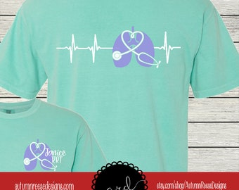 53b21863 Respiratory Therapist Therapy Monogrammed Customized Shirt Personalized  Comfort Colors Live Love Breathe
