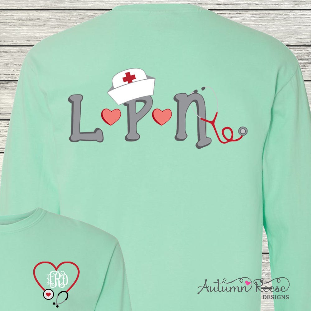 Monogrammed Lpn License Practical Nurse Shirt Personalized