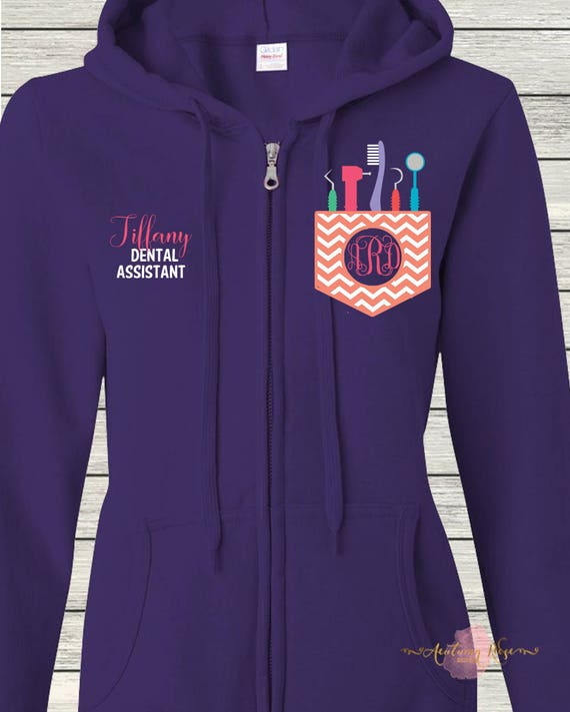 Monogrammed Ladies/Unisex Full-Zip Hooded Sweatshirt Occupational Therapy OT COTA Customized Personalized XS - 5XL Jacket strH36C5