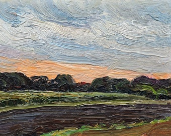 LANDSCAPE PAINTING Original oil artwork by N.Rabotyagov, Vintage Impressionist Miniature, Antique small picture, Sunset on the field, 1973