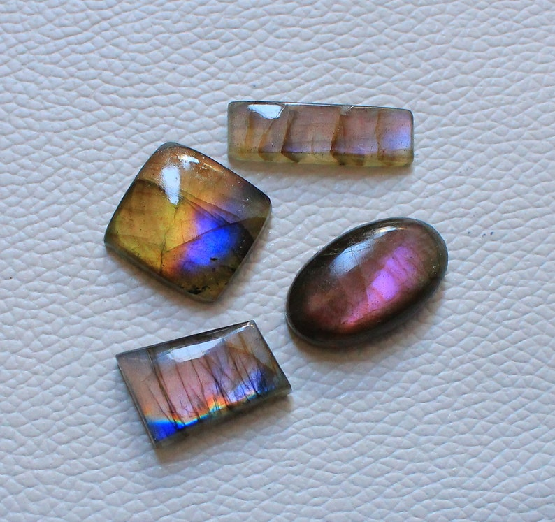 68.15 Ct 4 Pieces Lot Multi Purple Labradorite cabochon Lot Smooth Super Shiny Designer jewelry Mix Shape and Mix Color Labradorite Lot