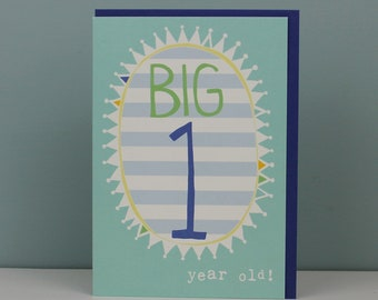 1st Birthday Card For A Boy Boys One Year Old Childrens Kids Cards