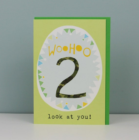 2nd Birthday Card For A Boy Boys 2nd Birthday Card Two Year Etsy